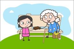 Menina dos desenhos animados que apresenta um presente a uma senhora idosa Vetora Illustration Imagem de Stock