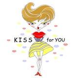 Menina dos desenhos animados que envia o beijo Fotos de Stock