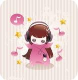 Menina dos desenhos animados que escuta a música ilustração stock