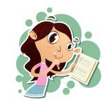 Menina dos desenhos animados que toma notas Imagens de Stock Royalty Free