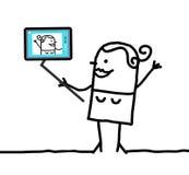 Menina dos desenhos animados que toma uma imagem dsi mesma Foto de Stock Royalty Free