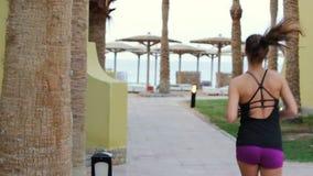 A menina dos esportes corre para o Sandy Beach com os guarda-chuvas no recurso Movimentar-se da manhã de uma morena delgada vídeos de arquivo