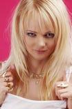 Menina dourada agressiva da jóia Imagem de Stock