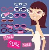 Menina e óculos de sol bonitos ilustração do vetor