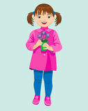 menina e açafrões pequenos Imagem de Stock Royalty Free