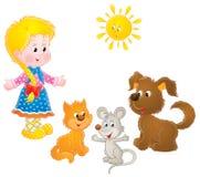 Menina e animais de estimação rurais Imagens de Stock
