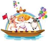 Menina e animais no barco Imagens de Stock Royalty Free