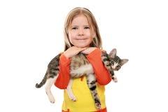 Menina e animal de estimação Fotografia de Stock