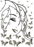 A menina e as borboletas ilustração royalty free