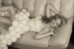 Menina e balões Foto de Stock Royalty Free