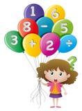 Menina e balões com números ilustração stock