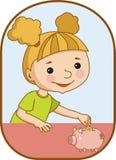 Menina e banco piggy Imagens de Stock Royalty Free