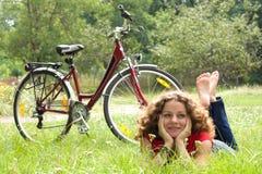 Menina e bicicleta Imagem de Stock Royalty Free