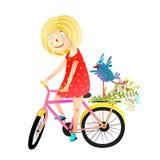 Menina e Birdie Riding Bicycle Happy Summer Fotografia de Stock
