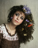 Menina e borboletas Imagens de Stock Royalty Free