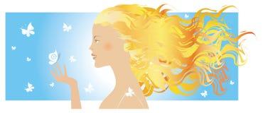 Menina e borboletas do verão ilustração royalty free