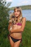 Menina e cão imagens de stock