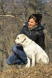 Menina e cão Imagens de Stock Royalty Free