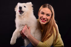 Menina e cão Foto de Stock