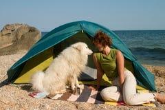 Menina e cão do samoyed Imagens de Stock Royalty Free