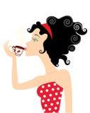 Menina e café ilustração royalty free