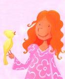 Menina e canário Imagem de Stock