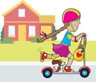 Menina e casa do 'trotinette' Imagens de Stock