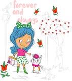Menina e Cat Cartoon bonitos doces ilustração royalty free