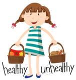 Menina e cesta com alimento saudável e alimento insalubre ilustração stock