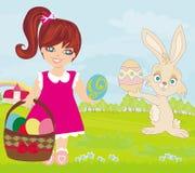 Menina e coelhinho da Páscoa doces ilustração do vetor
