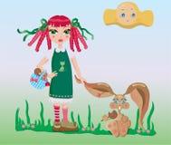 menina e coelho Fotografia de Stock