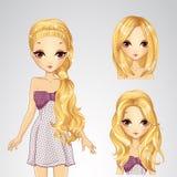 Menina e coleção bonitas dos penteados Ilustração Royalty Free
