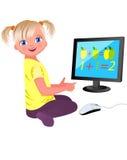 Menina e computador pequenos Imagem de Stock Royalty Free