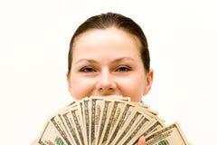 Menina e dinheiro Fotografia de Stock Royalty Free