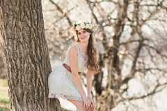 Menina e e árvore Fotografia de Stock Royalty Free