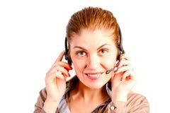 Menina e equipamento de comunicações Fotografia de Stock