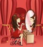 Menina e espelho Imagens de Stock