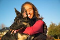 Menina e filhote de cachorro Imagem de Stock