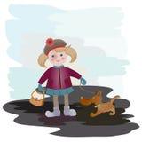 Menina e filhote de cachorro ilustração royalty free