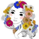 Menina e flor bonitas Fotos de Stock Royalty Free