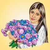 Menina e flores Fotos de Stock
