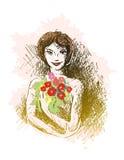 Menina e flores Fotos de Stock Royalty Free
