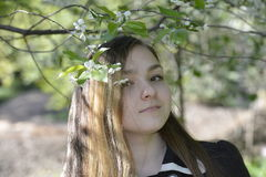 Menina e flores de cerejeira Imagens de Stock Royalty Free