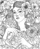 Menina e flores, oranment e teste padrão ilustração do vetor