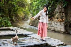 Menina e ganso que jogam pelo rio Imagem de Stock