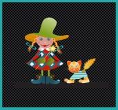 Menina e gato. ilustração stock