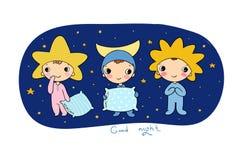 Menina e gatos Boa noite Sonhos doces Imagens de Stock Royalty Free