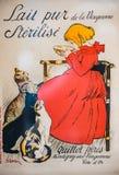 Menina e gatos franceses de capa de revista do vintage ilustração royalty free