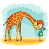 Menina e girafa Foto de Stock