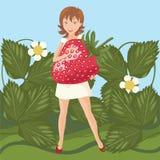Menina e grande morango ilustração stock